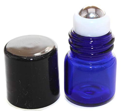 Essential Oil Roller Bottle 144-1 ml COBALT BLUE Glass Micro Mini Roll-on Glass Bottles with Stainless Steel Roller Balls by HS HEALTHY SOLUTIONS GLASSWARE