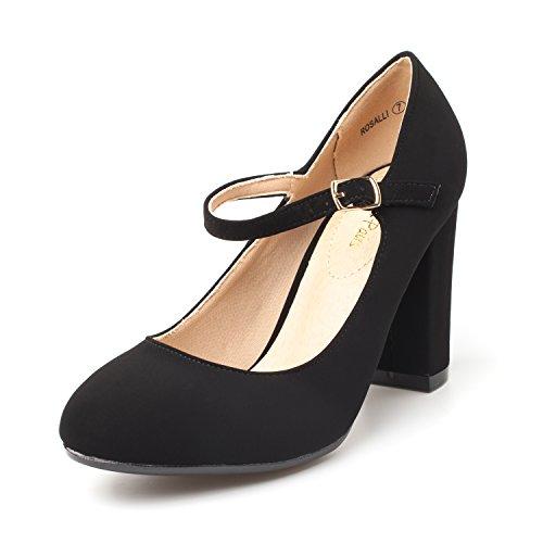 DREAM PAIRS Women's ROSALLI Black Nubuck High Chunky Heel Pump Shoes - 10 B(M) US