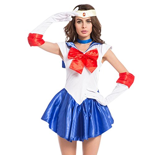 Sailor Moon Costumes For Adults (Quesera Women's Sailor Moon Costume Mercury Mars Fancy Dress Halloween Cosplay Outfit, Blue, TagsizeM=USsizeXS)
