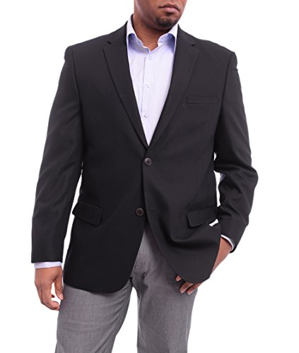 Hopsack Navy Blazer - Caravelli Classic Fit Navy Blue Hopsack Weave Two Button Stretch Blazer Sportcoat