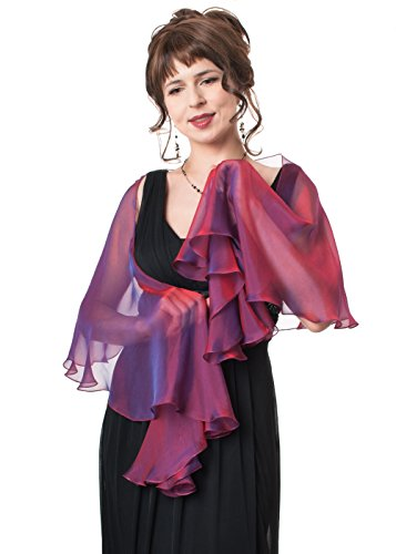 Lena Moro FLUTTERING SCARF Pink, Purple Colors 100% Silk Two Tone Chiffon Evening Shawls (752 Fuchsia-Purple)