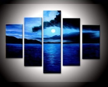 santin art 100 hand painted free shipping wood framed on the back artwork - Blue Wall Decor