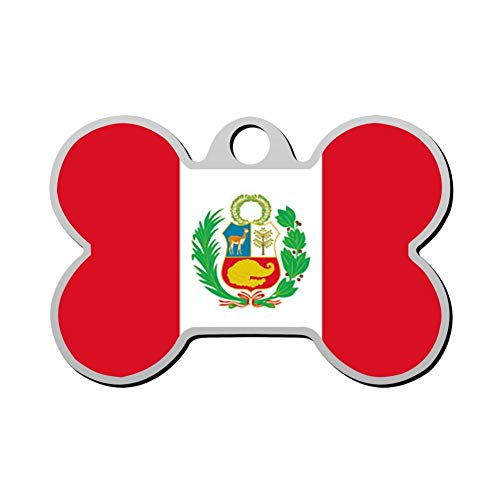 GPZHM 3D Print Custom Pet ID Tags Personalized Front and Back Bone Shape Dog Tags & Cat Tags Flag of Peru