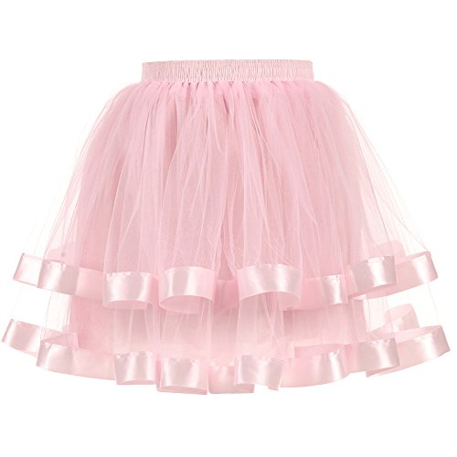 Nevera Women Teen Girl Adult Vintage Layered Fluffy Ballet Tulle Tutu Skirt Pink -