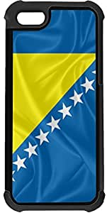 Rikki KnightTM Bosnia and Herzegovina Flag 2-In-1 Black Hard Plastic top with Black Silicone Rubber Protective Insert Case Cover for Apple iPhone 5 & 5s by mcsharks
