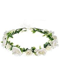 Girls Boho Rose Floral Crown Wreath Wedding Flower...