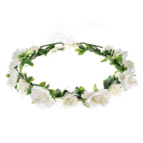 (Love Sweety Girls Boho Rose Floral Crown Wreath Wedding Flower Headband Headpiece (White))