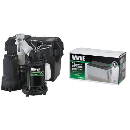 WAYNE WSS30V Pre-Assembled 120/12V 1/2 HP Primary and Battery Backup Combination Sump Pump System with WSB1275 75Ah AGM Sealed Lead Acid Battery by