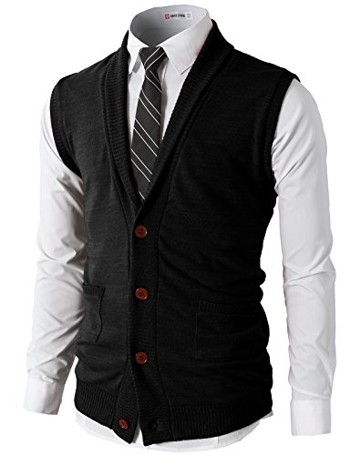 H2H Mens Casual Basic Shawl Collar Knitted Thermal Vest Black US XL/Asia XXL - Mens Argyle Button Down Vest