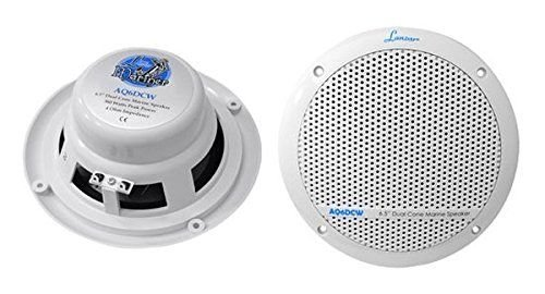 Lanzar 6x9 Inch Marine Speakers - 2 Way Water Resistant Audio Stereo Sound System with 500 Watt Power, Attachable Grills and Resin Treatment for Indoor and Outdoor Use - 1 Pair - AQ69CXW (White)