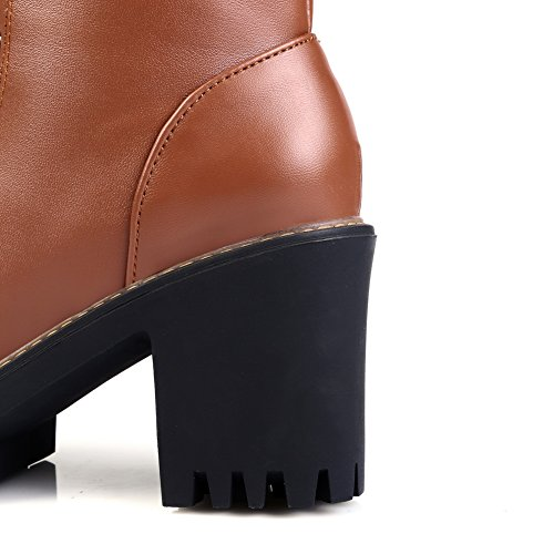 Bandage Leather 1TO9 Chunky Imitated Platform Boots Ladies Brown Heels qxwHwS51