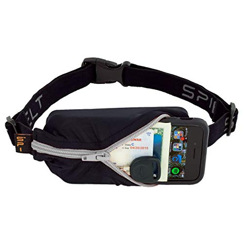 SPIbelt Running Belt Original Pocket No-Bounce Waist Bag for Runners Athletes Men and Women fits Smartphones iPhone 6 7 8 X Workout Fanny Pack Expandable Sport Pouch Adjustable Black Titanium Zipper