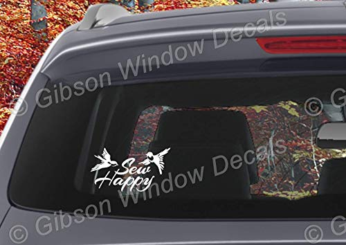 Sew Happy With Birds Decal, Car Truck, Quilting, Sewing Vinyl Window Decal Sticker