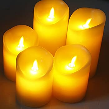 """Comenzar Flameless Candles,led Candles Realistic Moving Set Of 5(h4 4"""" 4"""" 6"""" 6"""" Xd3.25) Flickering Candles With Remote Timer(batteries Not Included) 5"""