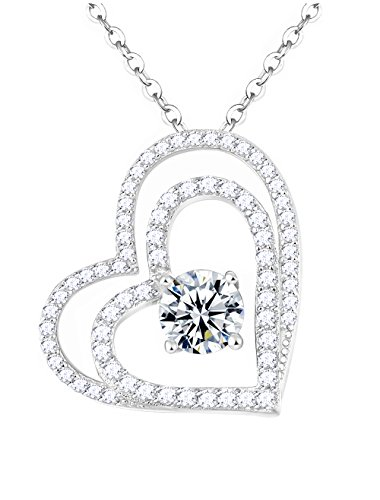Christmas Anniversary Birthday for Her Double Love Hearts Simulated Diamond Sterling Silver Pendant Necklace - 20