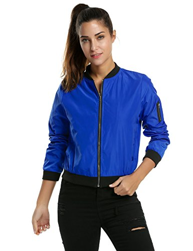 Zeagoo Womens Classic Quilted Jacket Short Bomber Jacket Coat Blue Plus Size