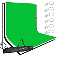 Neewer Lighting Studio Background Kit Includes: 8.5x10 feet Backdrop Stand Support System,3 Pieces 5x10 feet Black/White/Green Cotton Backdrop,6 Pieces Clamps and Carrying Case for Product Photography