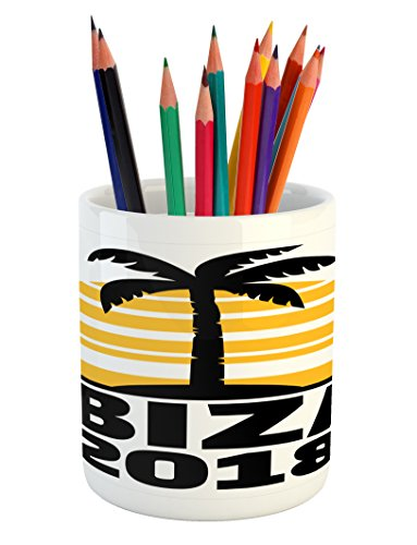 Cheap  Lunarable Ibiza Pencil Pen Holder, Palm Tree Silhouette and Sunset Tropical Islands..