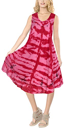 Handmade Ladies Tie Dye - LA LEELA Rayon Tie Dye Vacation Party Sundress OSFM 14-20 [L-2X] Pink_6122