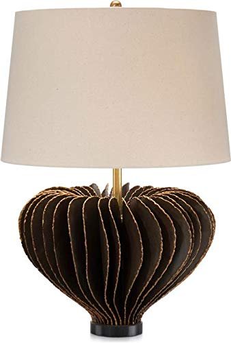 John Richard Table Lamp Melted Copper Accents Oat Cream Stamped Iron New (Lamp John Iron Table)