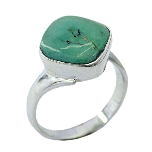 55Carat Genuine Turquoise Sterling Silver Ring for Women Cushion Cut Birthstone Size 5,6,7,8,9,10,11,12 (Turquoise Ring Cushion Cut)