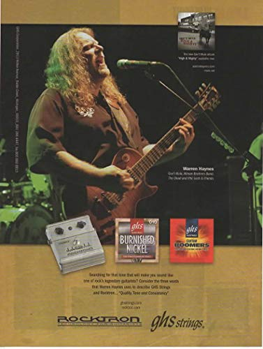 Magazine Print ad: 2006 Warren Haynes of Gov't Mule, Allman Brothers, for GHS Guitar Strings-Boomers-Rocktron,