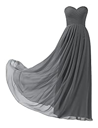 Remedios A-Line Chiffon Bridesmaid Dress Strapless Long Prom Evening Gown,