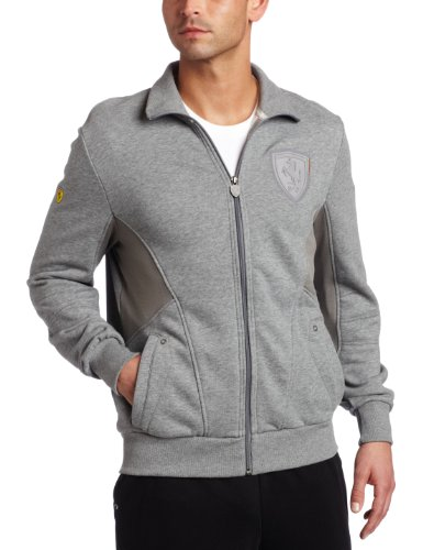 (PUMA Men's Ferrari Sweat Jacket, Medium Gray Heather, Small)