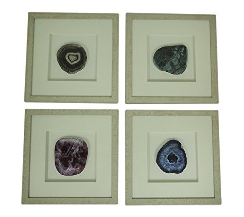 Deco 79 Set of 4 Modern 12 x 12 Square Framed Gemstones and Agate Stones Wall Décor Decor, White/Green/Brown/Blue/Violet (Green Agate Stone)