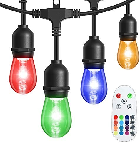 LITOM LED Outdoor String Lights, 48FT RGB 13 Colors Changing with 20 Energy-Saving Plastic Bulbs, Waterproof IP65 and Shatterproof, Remote Control, Ideal for Decorative Patio Garden Bistro Caf Yard