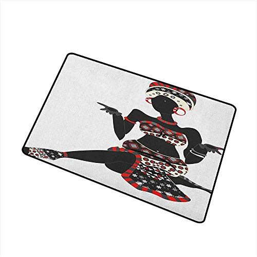 Wang Hai Chuan African Woman Commercial Grade Entrance mat Local Lady Indigenous Ethnic Patterned Dress Gesture Silhouette for entrances garages patios W29.5 x L39.4 Inch Charcoal Grey ()