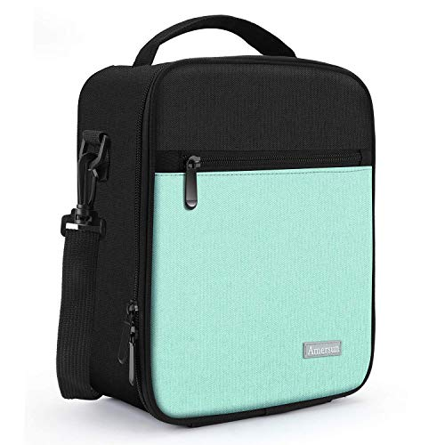 Expandable Style Liner - Lunch Bag with Solid Padded Liner,Amersun Spacious Insulated Lunch Box Durable Thermal Lunch Cooler Pack Organizer for Boys Men Women Girls Adults Sport Picnic Beach Camp Office,2 Pockets(Black Green)