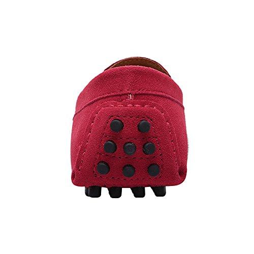 Ante Jamron Zapatos Conducción Mocasín Mano Hecho Zapatillas Elegante Rojo Comodidad OTAN Raya Mocasines a Hombres P4PSYra