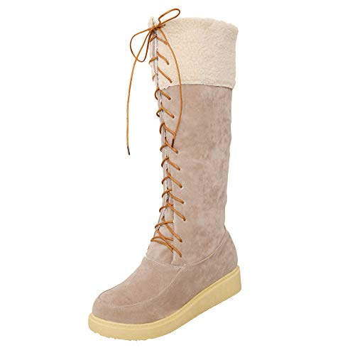 Mysky Women Keep Warm Suede Lace-Up Flat Shoes Ladies Vintage Solid Middle Tube Snow Boots Beige