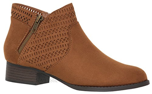 MVE Shoes Women's Low Chunky Heel - Laser Deco Pointed Toe Booties Chestnut*b