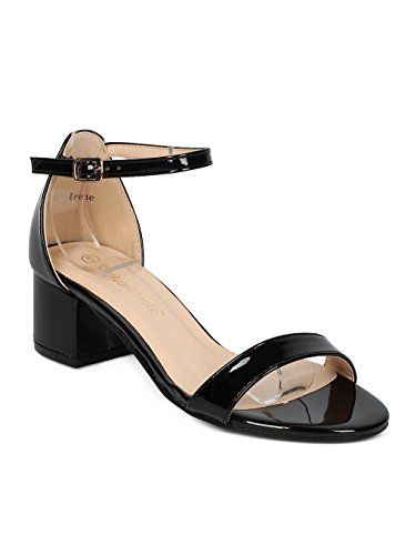 Heart.Thentic Irene Women Open Toe Chunky Heel Ankle Strap Sandal HC55 - Black Patent (Size: ()