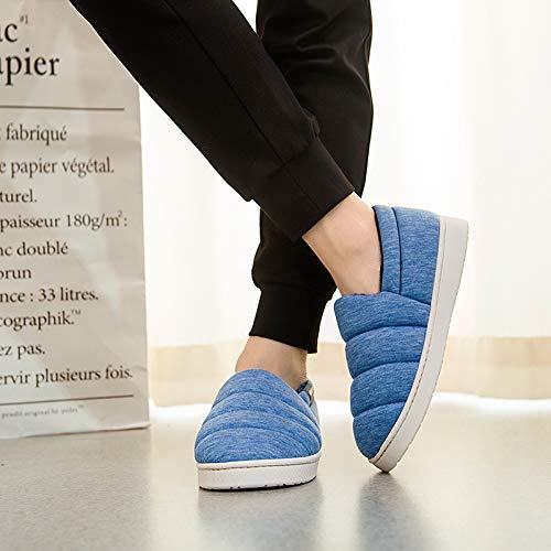 Pantofole Coreana Spesso Casa Size In color Più Femminile 3 Blue Calda Peluche Inverno Blue Fondo Di Versione Cotone Home Fortr zvq5gv