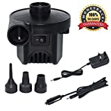 KERUITA Electric Pump Quick-Fill Air Pump for Inflatables Airbed Pump Pool Toy Float Pump 220V AC/12V DC Black(AC+DC) (ACDC)