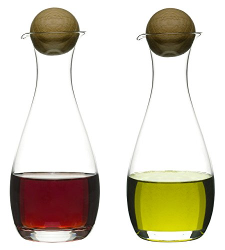 Sagaform 5015337 Oil/Vinegar Bottles with Oak Stoppers, 2-Pack