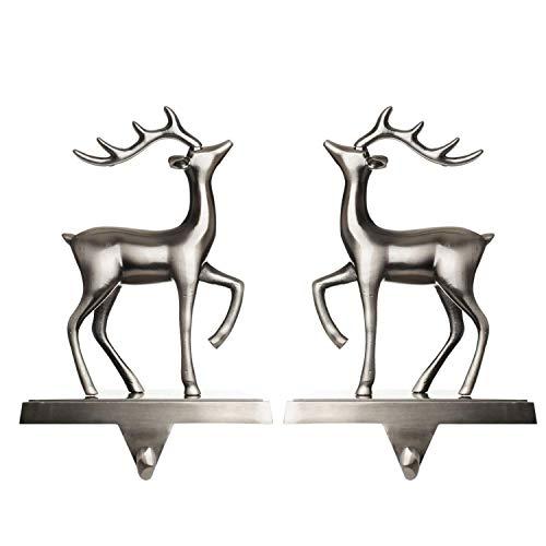 Klikel Christmas Reindeer Stocking Hanger for Mantel | Set of 2 | Silver Metal Deer Stocking Holder with Hook