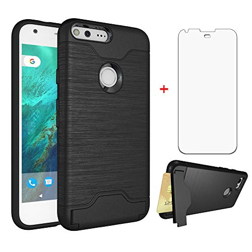 Google Pixel 1 Wallet Phone Case 5 inch 2016 with Tempered Glass Screen Protector Credit Card Holder Stand Kickstand Slim Full Body Silicone Hard Rugged Protective for Pixel1 One Women Men Girls Black
