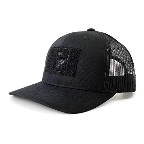 Pull Patch Tactical Hat | Authentic Snapback Curved Bill Trucker Cap | 2x3 in Hook and Loop Surface to Attach Morale Patches | 6 Panel | Black | Free US Flag Patch Included (Tactical Hat With Patch)