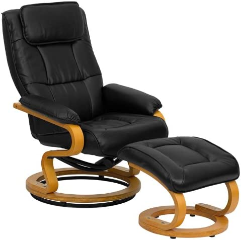 Emma Oliver Multi-Position Recliner Ottoman with Swivel Maple Wood Base in Black Leather