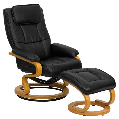 Leather Ergonomic Recliner - Flash Furniture Contemporary Black Leather Recliner and Ottoman with Swiveling Maple Wood Base