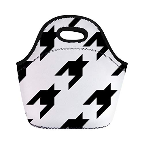 Semtomn Lunch Tote Bag Abstract Pattern Houndstooth Mosaic Material Bats Black Blazer Broken Reusable Neoprene Insulated Thermal Outdoor Picnic Lunchbox for Men Women ()