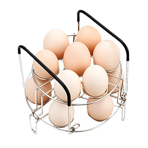 Aiflyme Stackable Egg Steamer Rack Trivet with Heat Resistant Handles Compatible for Instant Pot Accessories Pressure Cooker 5/6/8 Qt - 14 Eggs Multipurpose Stainless Steel Cooking Rack (14 Egg Rack)