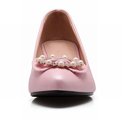 Carolbar Donna Chic Dolce Strass Perline Eleganza Archi Nuziale Grosso Tacco Medio Pompe Scarpe Rosa