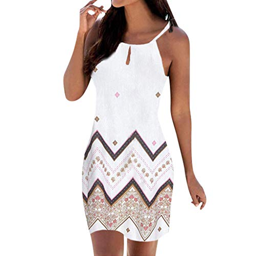 Women Strap Boho Tunic Dress - Ladies Keyhole Geometry Print Sleeveless Clothes - Casual Slim Dresses (M, White)
