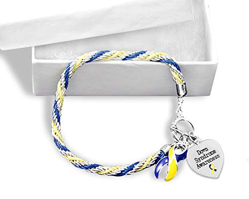 Fundraising For A Cause 12 Pack Down Syndrome Awareness Blue & Yellow Ribbon and Heart Charm Rope Bracelets Individually Bagged (12 Bracelets - Wholesale)