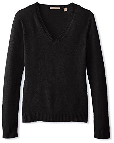 Cashmere Addiction Women's Long Sleeve V-Neck Sweater, Black, XS